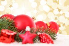 Christmas balls red golden decoration baubles stars snow copyspa royalty free stock images