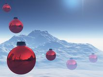 Christmas balls red over snow Stock Photo