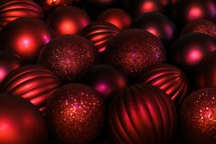 Red christmas background - red balls Royalty Free Stock Photography