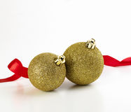 Christmas balls with red ribbon Stock Photo