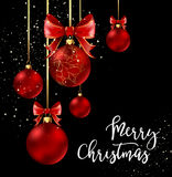 Christmas balls with red ribbon and bows. On black background. Vector Illustration Royalty Free Stock Images