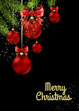 Christmas balls with red ribbon and bows. On black background. Vector Illustration Stock Photography