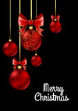 Christmas balls with red ribbon and bows. On black background. Vector Illustration Royalty Free Stock Photos