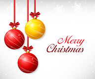 Christmas balls with red ribbon and bows Royalty Free Stock Images