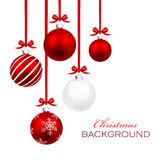 Christmas balls. With red ribbon and bows isolated on white Royalty Free Stock Photos