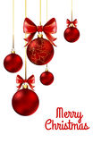 Christmas balls with red ribbon and bows Stock Images