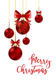 Christmas balls with red ribbon and bows. On white background. Vector Illustration Royalty Free Stock Images