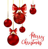 Christmas balls with red ribbon and bows Stock Photography
