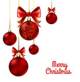 Christmas balls with red ribbon and bows. On white background. Vector Illustration Royalty Free Stock Photos