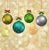Christmas balls with red ribbons and elements of f vector illustration