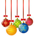 Christmas balls with red ribbons on white Royalty Free Stock Photos