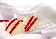 Christmas Balls with red satin ribbon stock photo