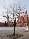Christmas balls on Red Square Stock Photography