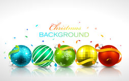 Christmas balls with reflection. Colored Christmas balls with reflection on a light background. Vector Stock Photo