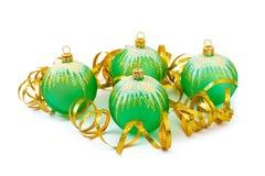 Christmas balls and ribbon Stock Photo