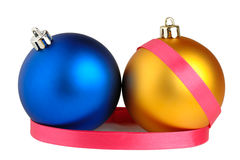 Christmas balls and ribbon Stock Photography
