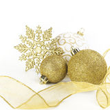 Christmas balls with ribbon Royalty Free Stock Photography