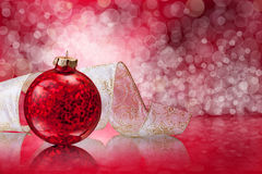 Christmas balls and ribbon Stock Image