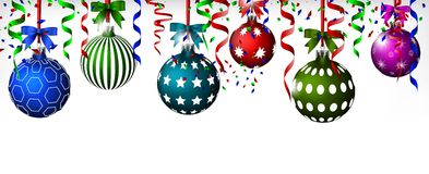 Christmas balls with ribbon and bows Royalty Free Stock Images
