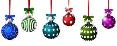 Christmas balls with ribbon and bows for you design Stock Photo