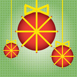 Christmas balls ribbon illustration Stock Photography