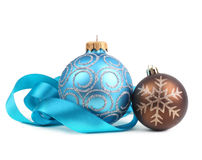 Christmas balls with ribbon Royalty Free Stock Photo
