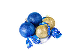 Christmas balls with ribbon on white background. Royalty Free Stock Image
