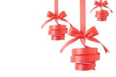 Christmas balls ribbon. On white background Royalty Free Stock Photos