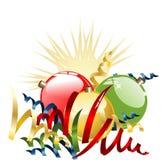 Christmas balls with ribbons Stock Image