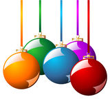 Christmas balls with ribbons. In different colors isolated over white background Royalty Free Stock Photos