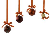 Christmas balls with ribbons and bow on white stock photography