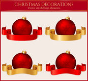 Christmas balls with ribbons. Set of design elemens. Vector illu Royalty Free Stock Photography