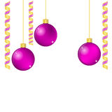Christmas balls and ribbons with space for your text. EPS10 vector format Stock Photos