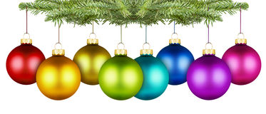 Christmas balls row Stock Photos