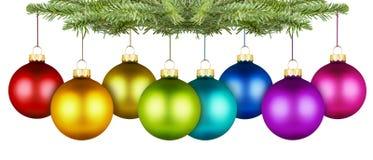 Christmas balls row Stock Photos