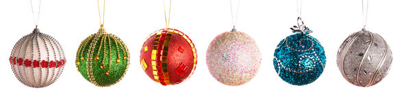 Christmas balls in a row Royalty Free Stock Photography