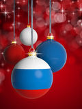 Christmas balls with Russian flag Royalty Free Stock Photography