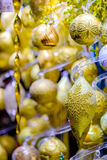 Christmas balls for sale at the market Stock Image
