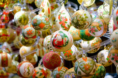 Christmas balls for sale at the market Royalty Free Stock Images