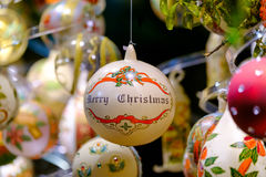 Christmas balls for sale at the market Stock Images