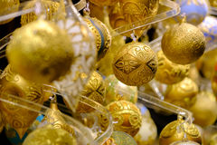 Christmas balls for sale at the market Royalty Free Stock Photo