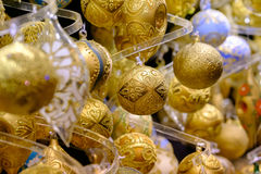 Christmas balls for sale at the market Royalty Free Stock Photography