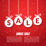 Christmas balls sale poster template. Xmas sale background. Winter holiday discount offer clearance red template. Stock Image