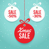 Christmas balls sale. Special offer vector tag. New year holiday card template. Shop market poster design Stock Image