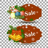 Christmas balls sale. Special offer vector tag. New year holiday card template. Shop market poster design. Christmas pictures for sale. Special offer vector tag Stock Photo
