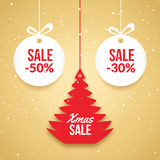 Christmas balls sale. Special offer vector tag. New year holiday card template. Shop market poster design with xmas tree Royalty Free Stock Photos