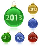 Christmas balls with sale tags - 2013. Christmas balls with sale tags and 2013. Christmas baubles with reflection. Vector illustration Stock Image