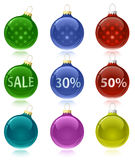 Christmas balls with sale tags Stock Image