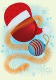 Christmas balls and Santa Claus hat Royalty Free Stock Photo