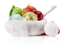 Christmas balls on Santa hat isolated on the white background Stock Photo